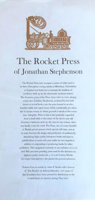 Image for [Broadsheet]: The Rocket Press of Jonathan Stephenson.
