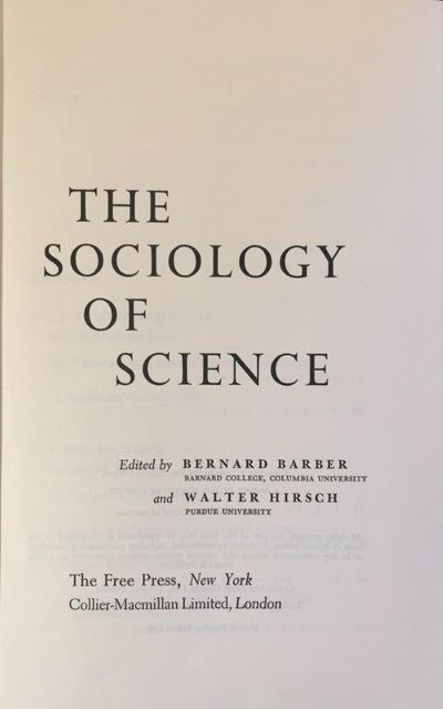 Image for The Sociology of Science.