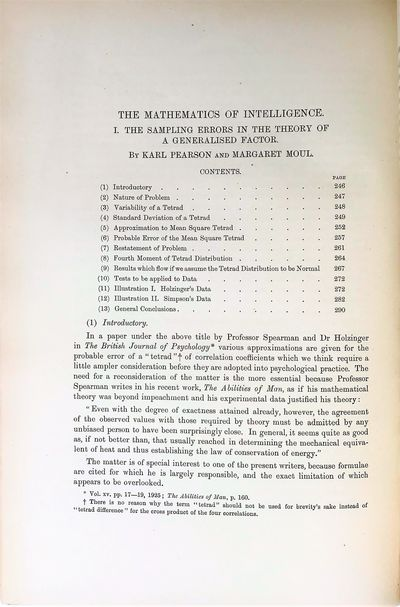 "Image for ""The mathematics of intelligence. I. The sampling errors in the theory of a generalised factor."""