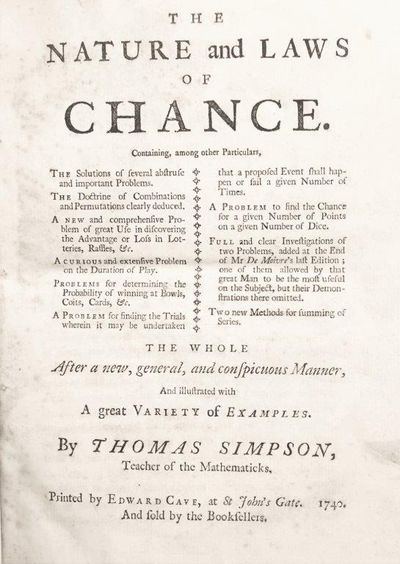 Image for The Nature and Laws of Chance. Containing, among other Particulars, The Solutions of several abstruse and important Problems. . . the whole after a new, general. . .