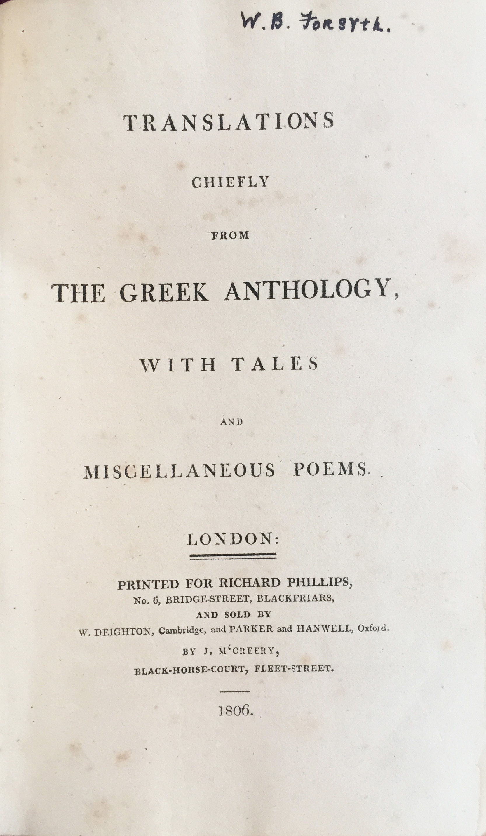Image for Translations chiefly from the Greek anthology, with tales and miscellaneous poems.