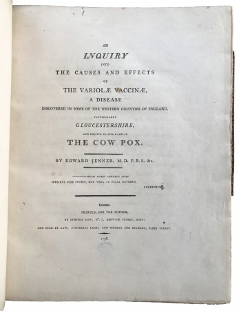 Image for An Inquiry into the Causes and Effects of the Variolae Vaccinae, A disease discovered in some of the western counties of England, particularly Gloucestershire, and known by the name of the Cow Pox.