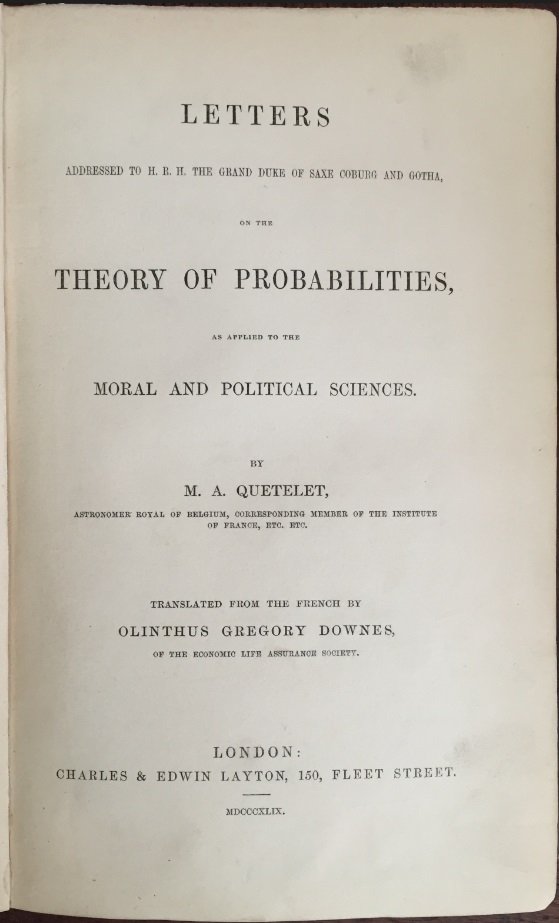 Image for Letters Addressed to H. R. H. the Grand Duke of Saxe Coburg and Gotha on the Theory of Probabilities.